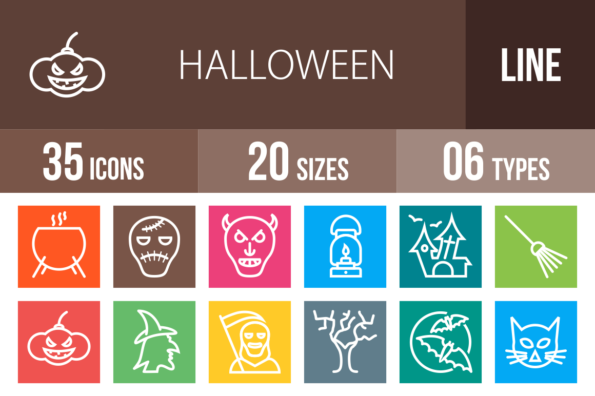 35-Halloween-Line-Multicolor-Icons