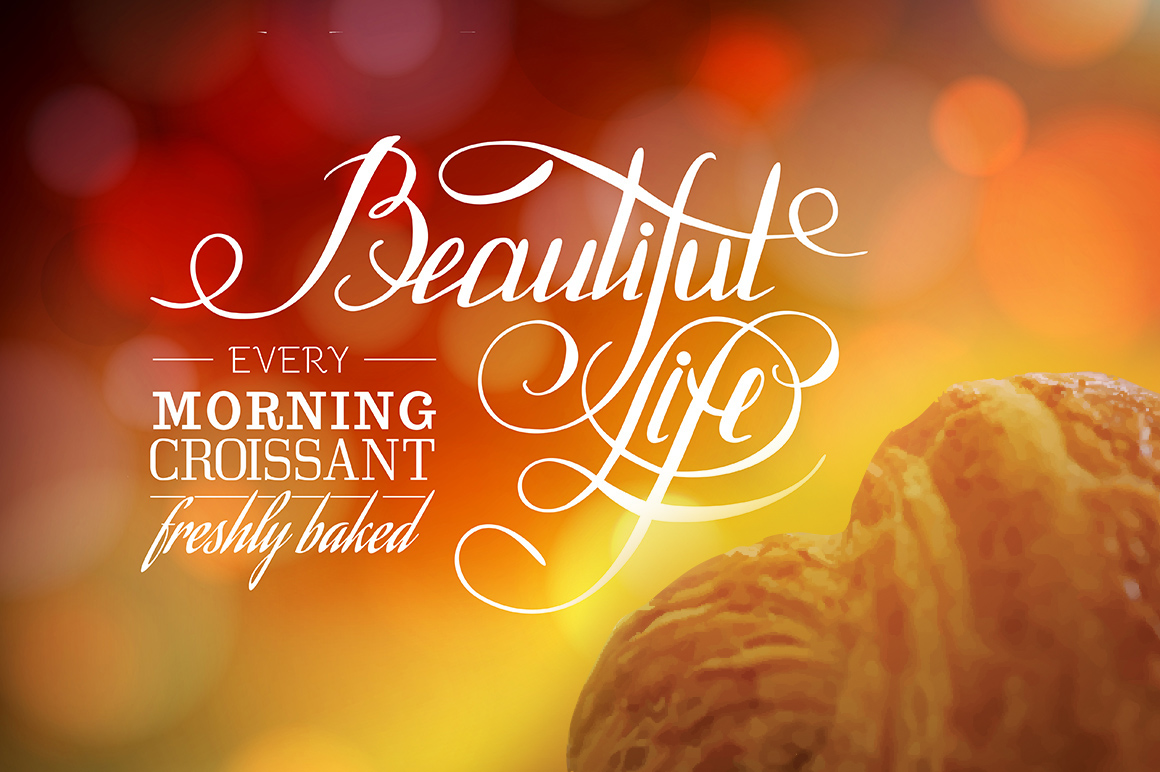 Vintage lettering. Croissant and bokeh backdrop. Vector illustration.