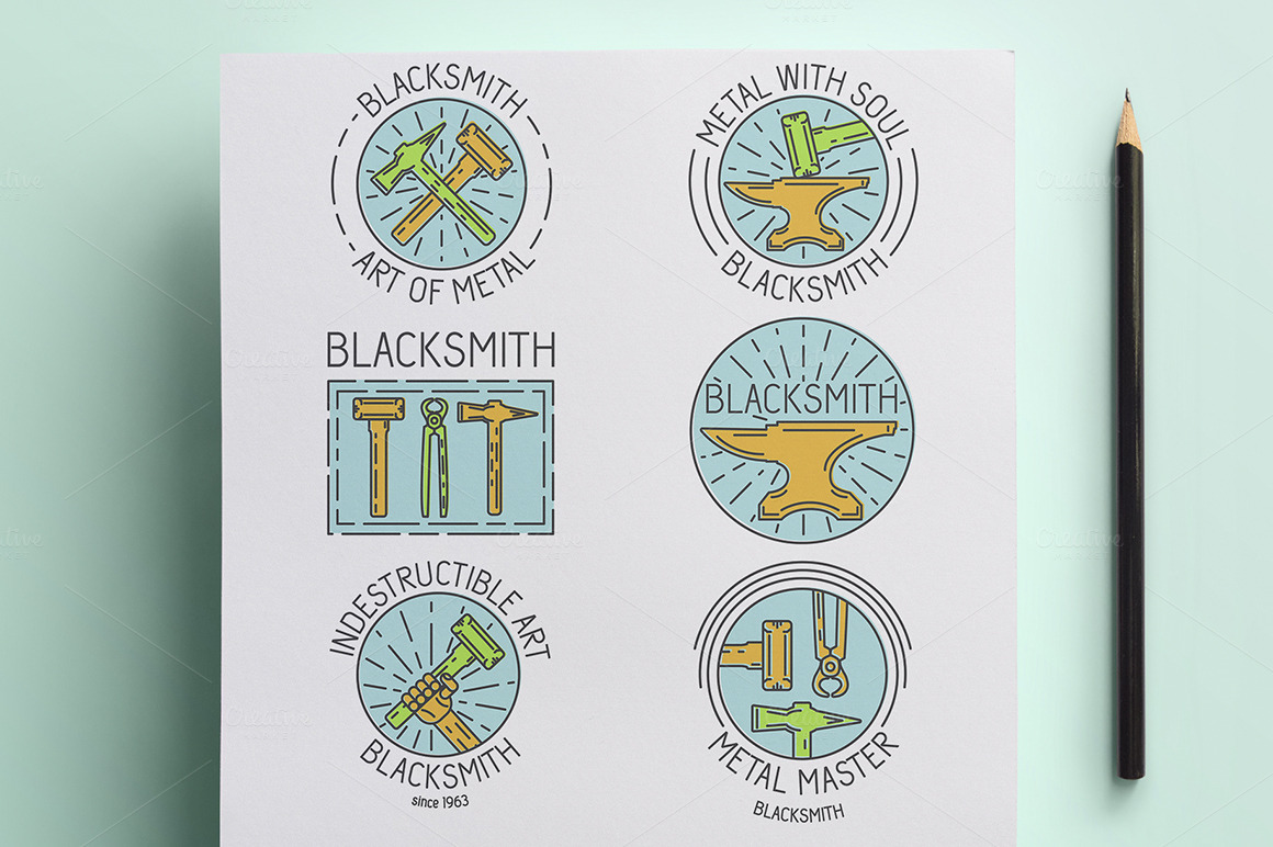 Set-of-blacksmith-badges-and-logo