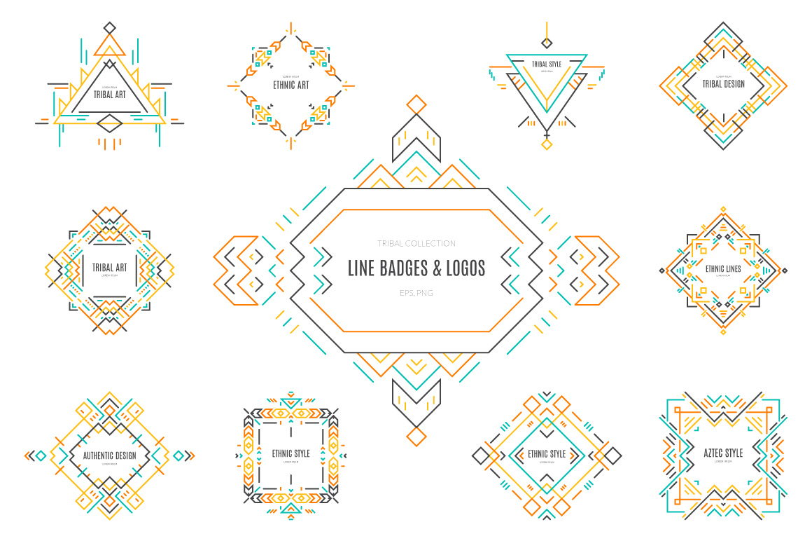 Tribal-Line-Logos-Badges-Templates