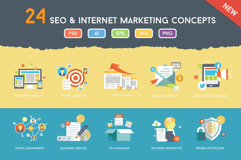 flat-seo-online-marketing-concepts-2