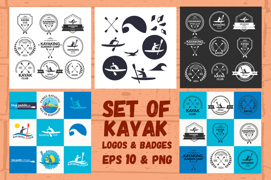 kayak-logos-badges-set-2