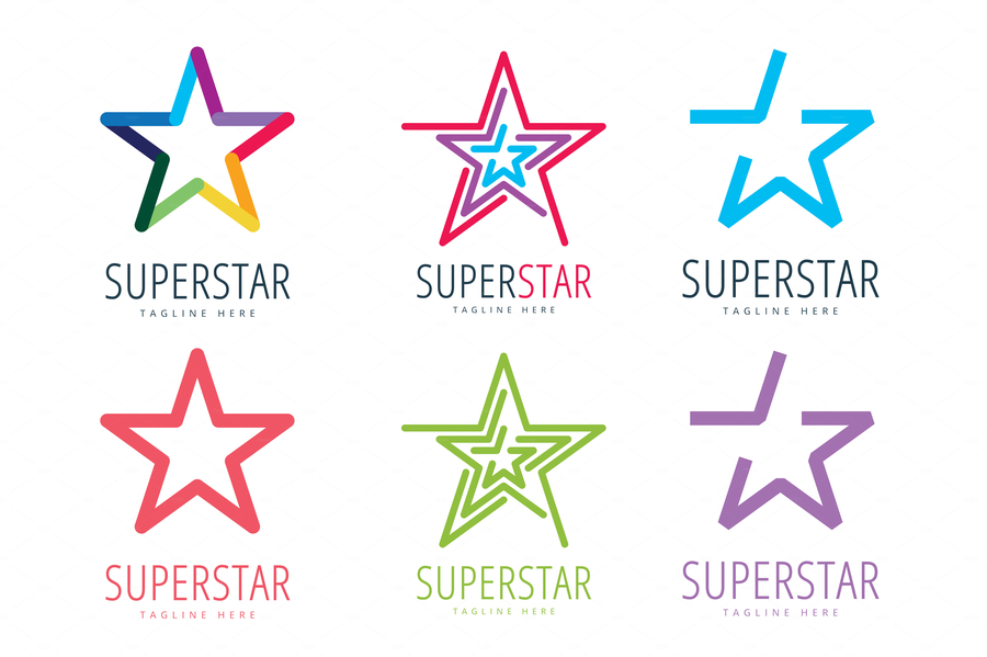 Star vector logo icon template set. Leader, boss, winner, rank or ranking. Competition and sport shape. Star symbol. Star vector logo. Leader concept.