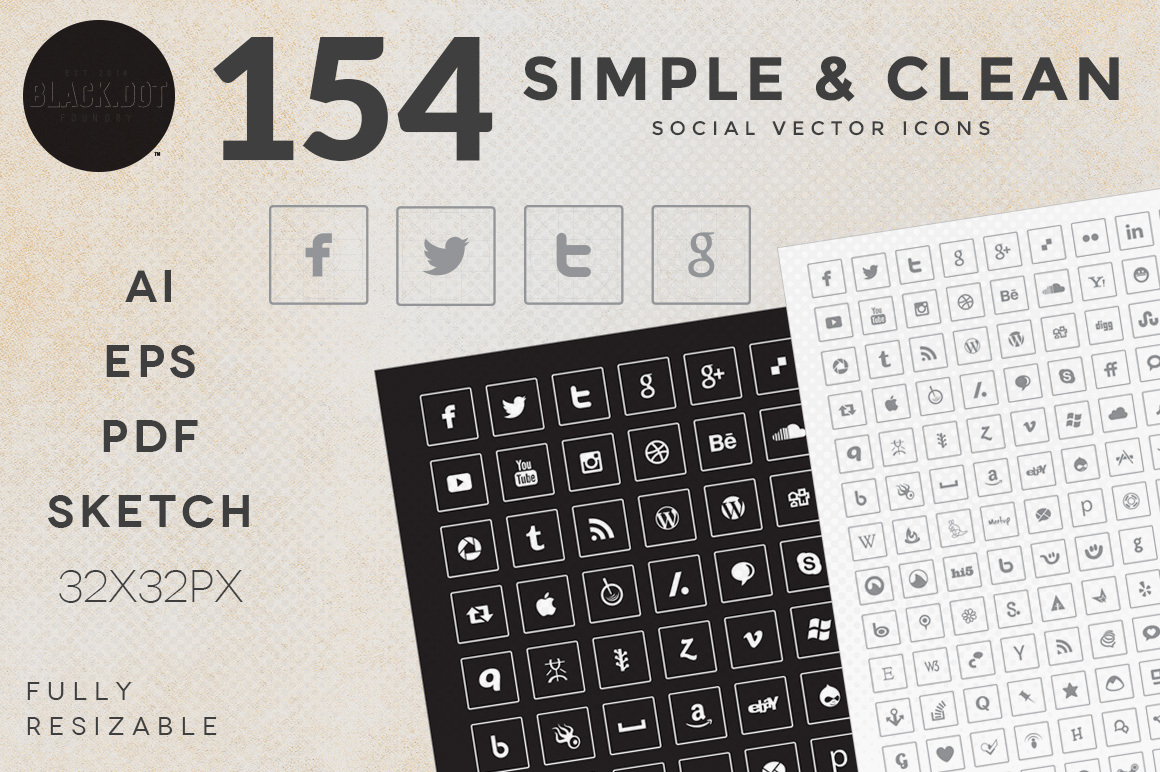 154-Simple-Clean-Social-Icons