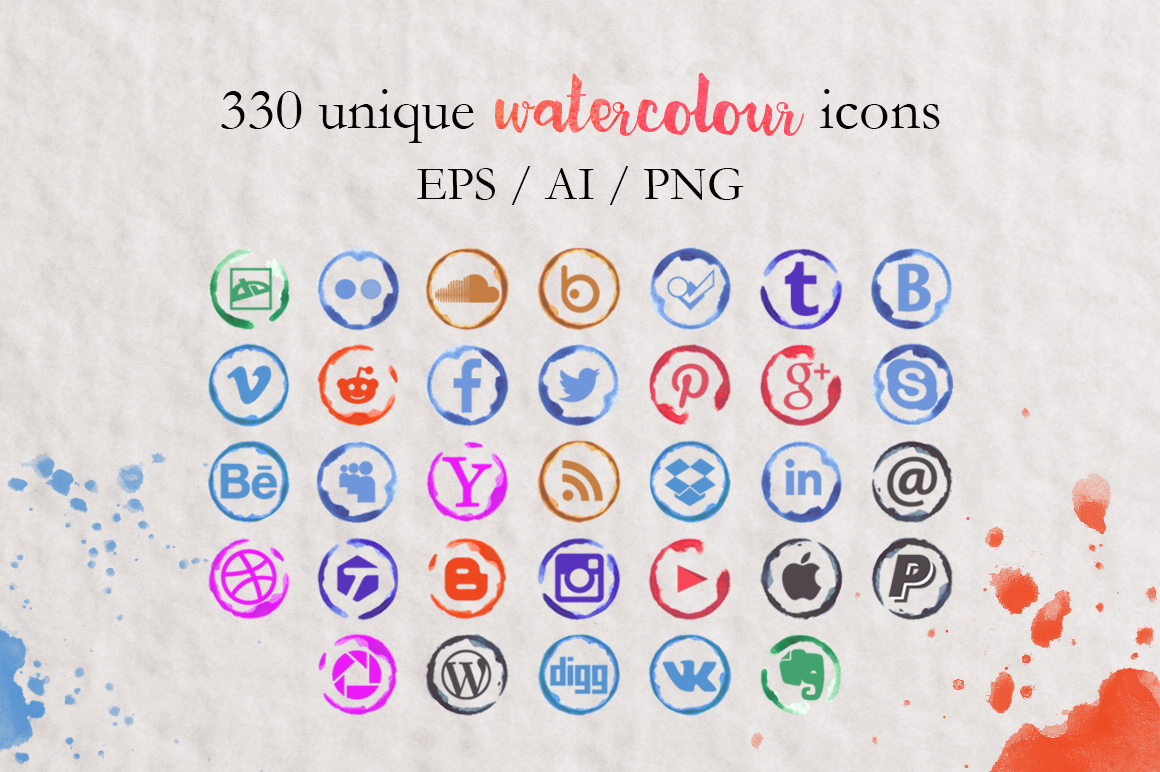 330-Watercolor-Social-media-icons