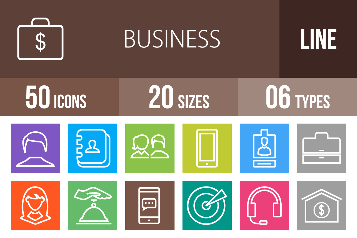 50-Business-Line-Multicolor-Icons