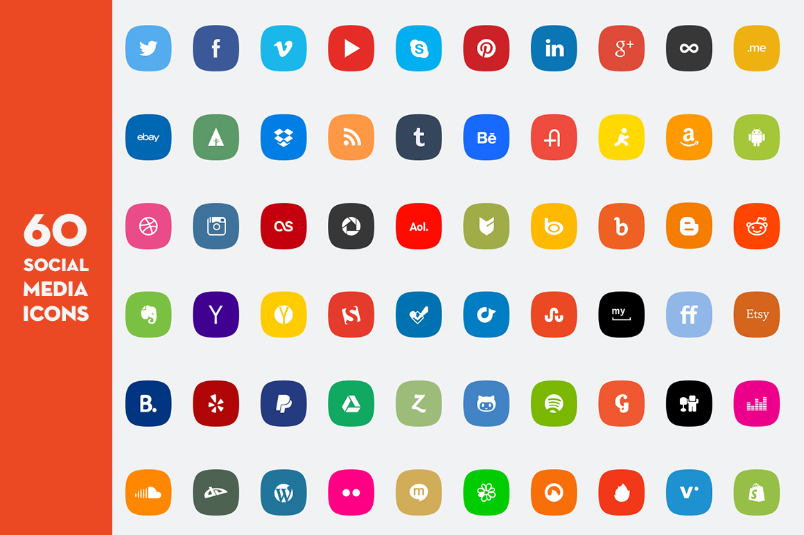 25  social media icons - show your site to the world