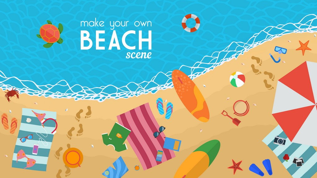 Beach-Background-And-Icons-Set