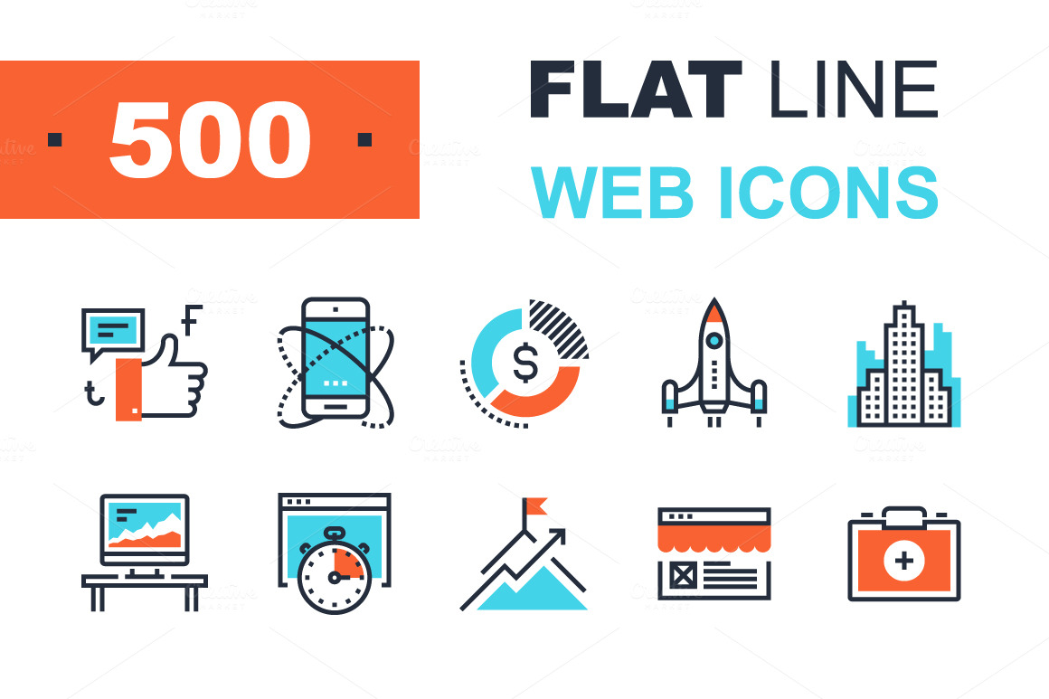 Colorful-Flat-Line-Web-Icons