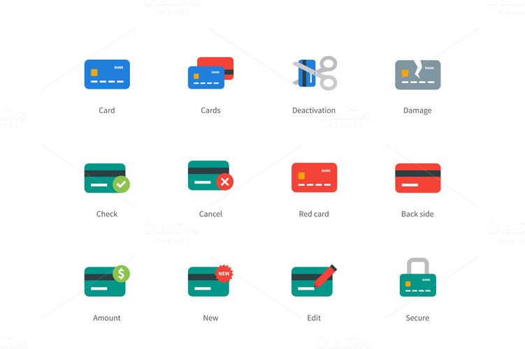 Pictogram collection of banking credit card and paying, money, wallet, lock and broken card. Flat design style colored icons set. Isolated on white background.