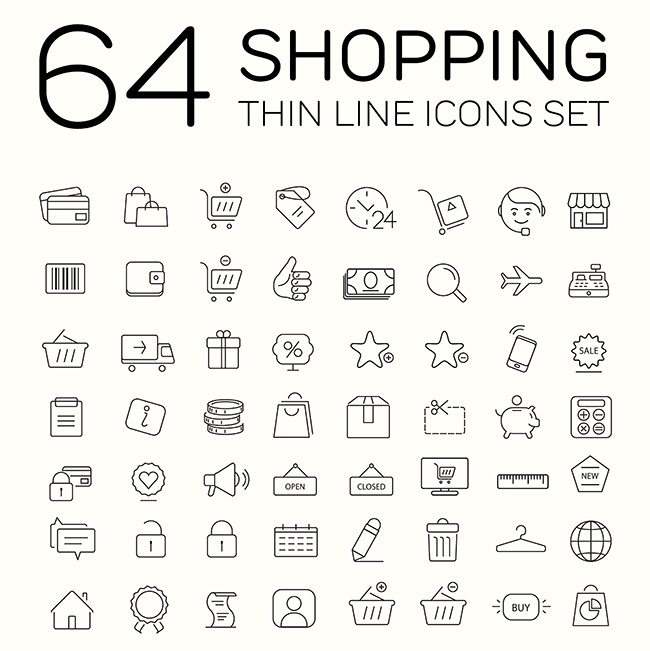64 e-commerce and shopping icons. Thin line modern design.