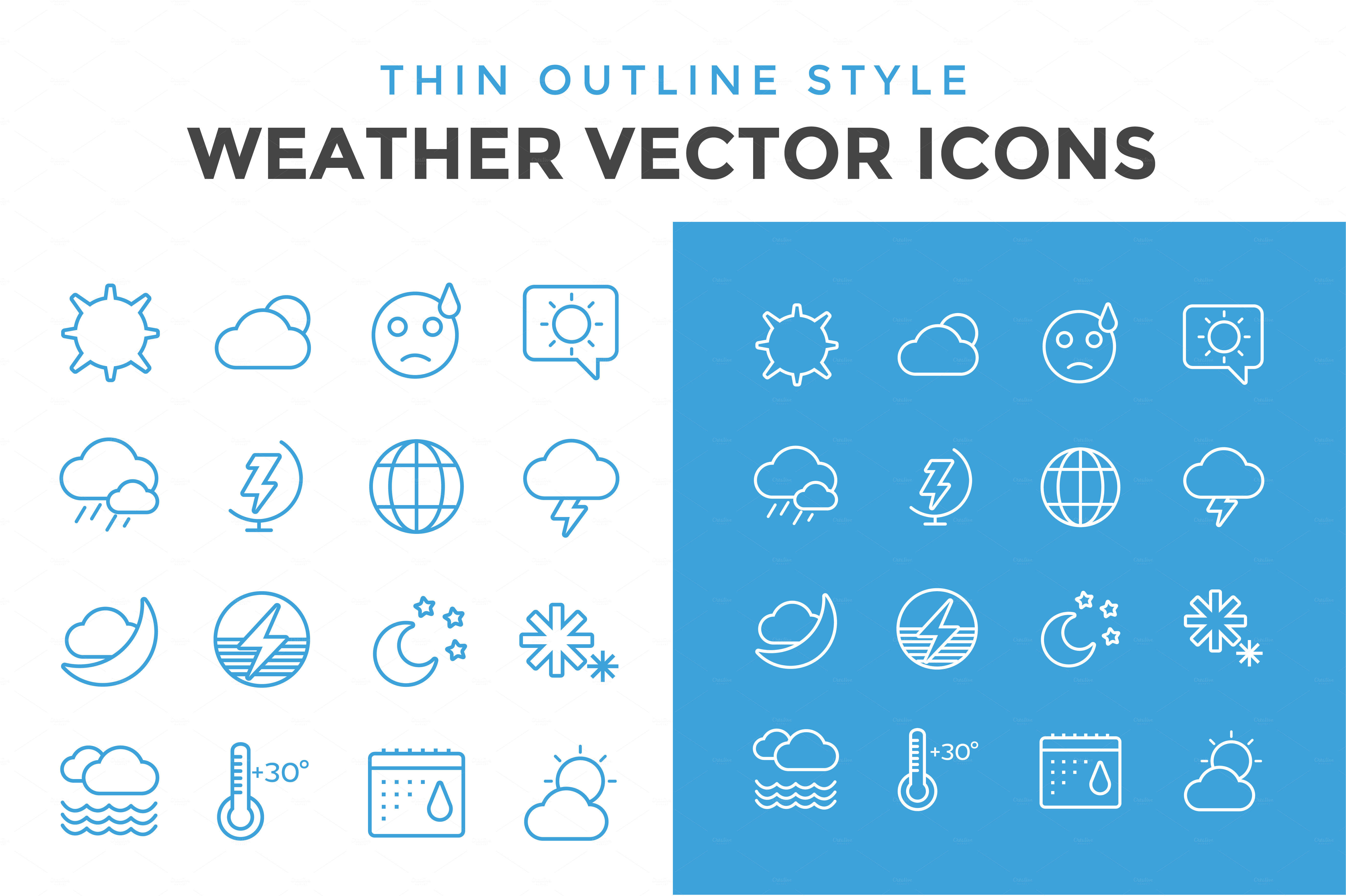 Weather-vector-icons-outline-set