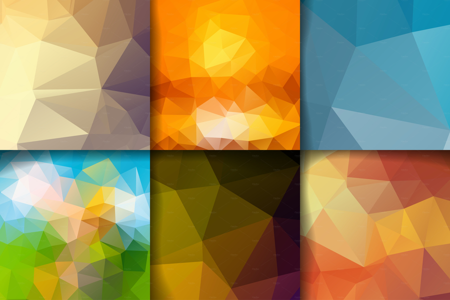 Set of blank templates with polygonal backgrounds