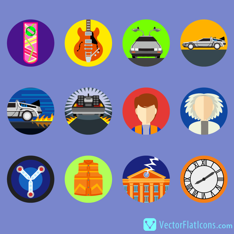 Back-to-the-Future-Flat-Icons