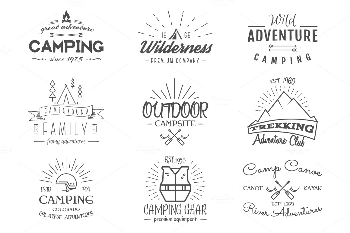 Outdoor-Vintage-Labels-Logos-Set