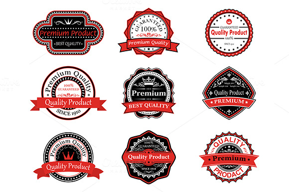 Retro quality labels in black and red colors