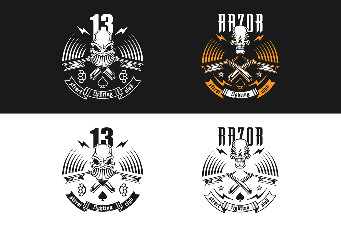 "Vector illustration street fighting club emblem with skull, brass knuckles, razors, stars and inscription. ""Street fighting club 13. Razor."""
