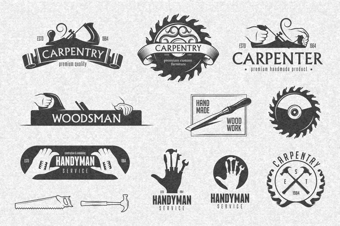 Carpentry-Labels-Set
