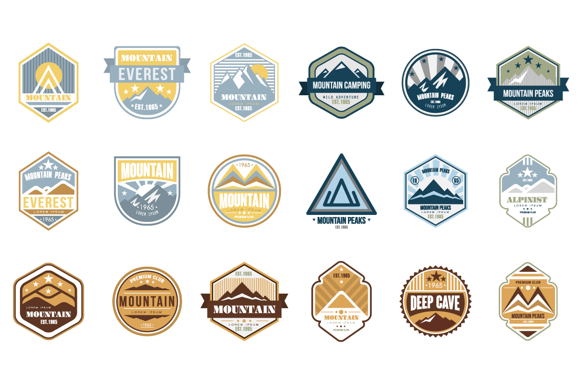Mountain-logo-emblem-set
