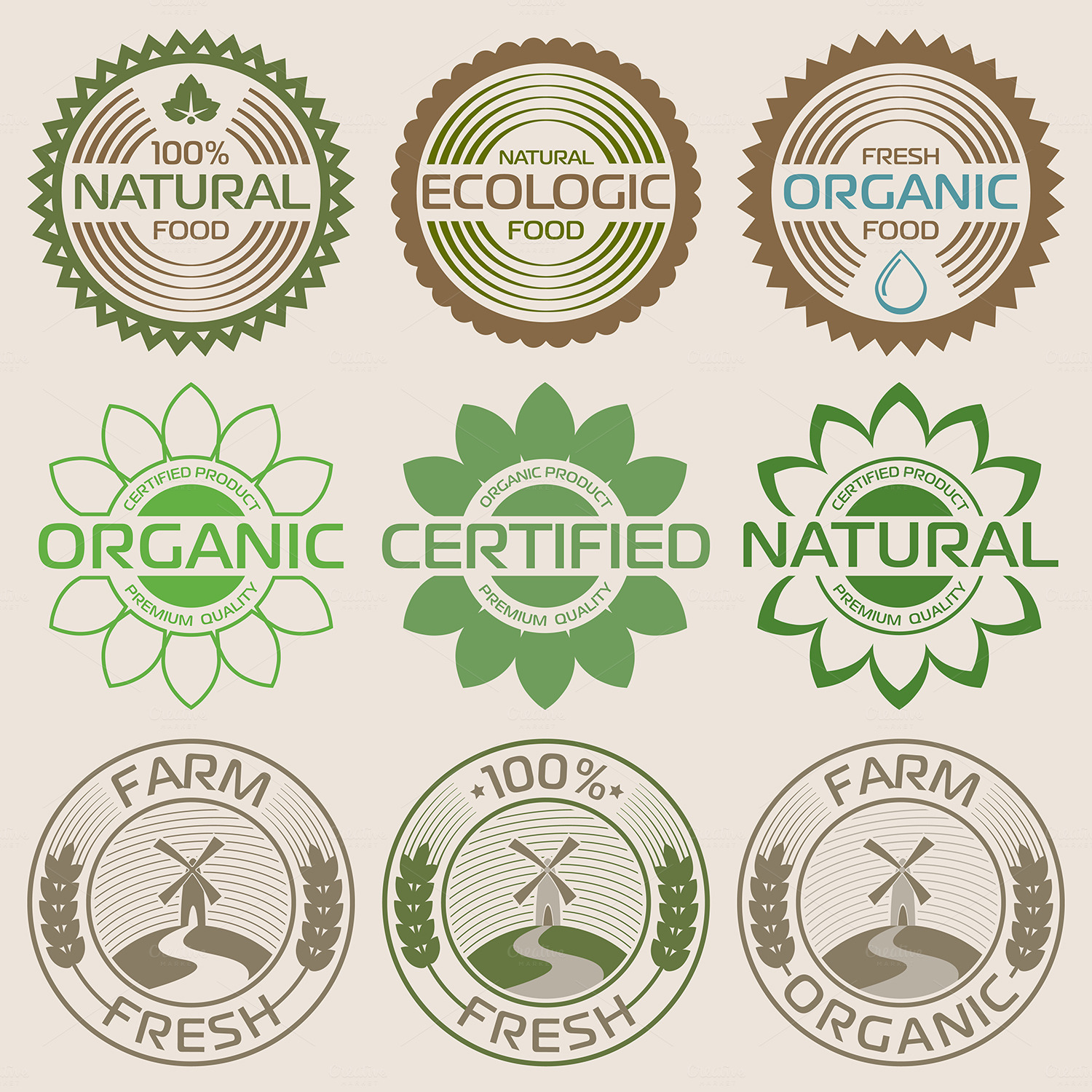 Organic labels and elements. Eco style. Vector icons.