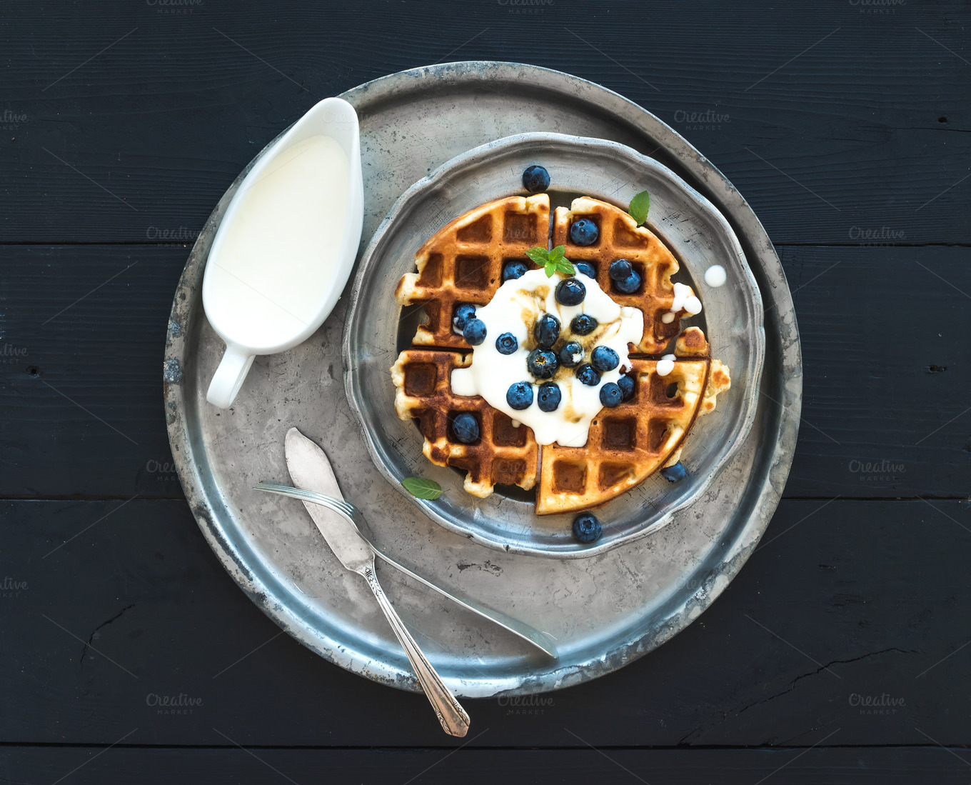 Soft-Belgian-waffles-and-blueberries