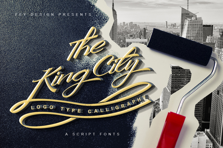 king-city-logo-type-modern-callygraphy