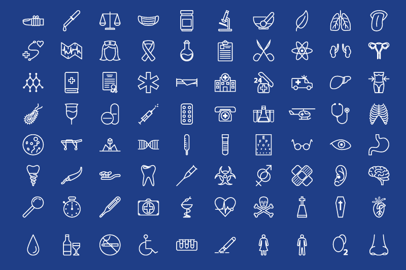 80-medical-outline-icons-set