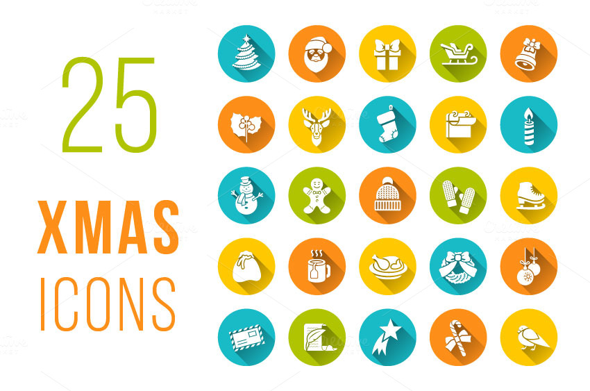 Christmas-symbols-flat-vector-icons