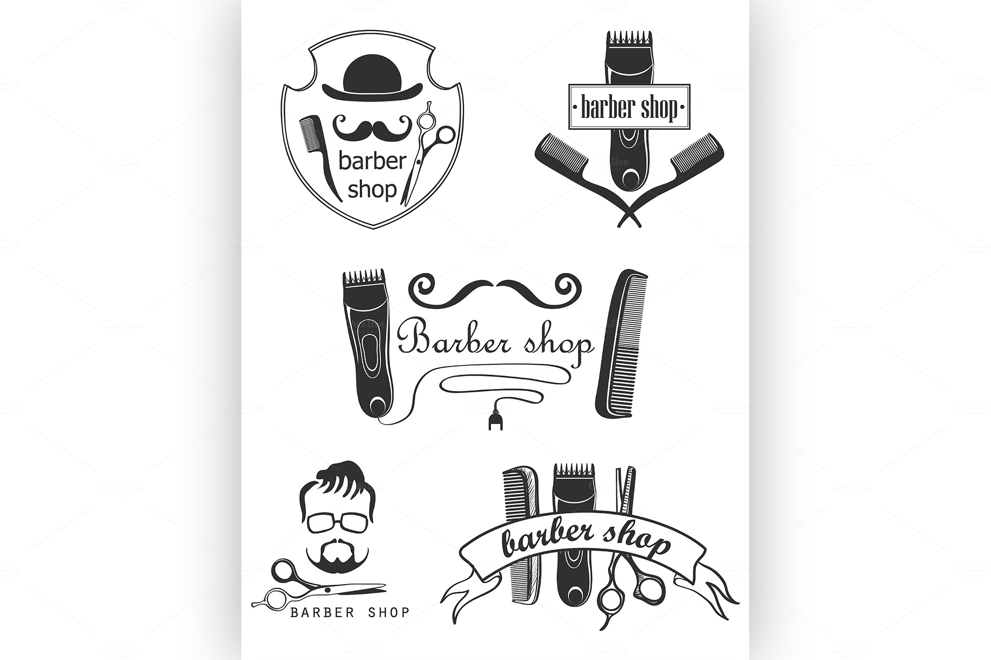 Set-of-vintage-barber-shop-emblems