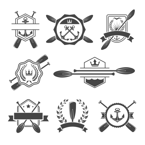 Rowing logo and paddle badges. Oar and shield, rowing and river sport. Vector illustration