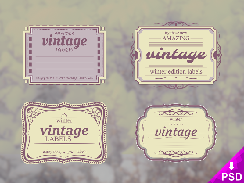 Set-of-4-Vintage-Winter-Labels