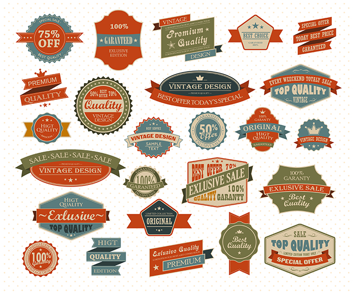 Vintage and retro design elements. Useful design elements - old papers, labels in retro and vintage style