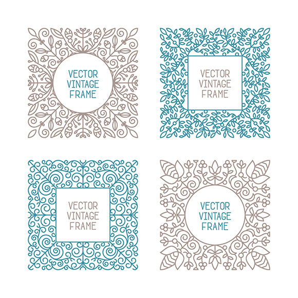Vector vintage floral frame set for your text, monogram or pictogram in mono line style