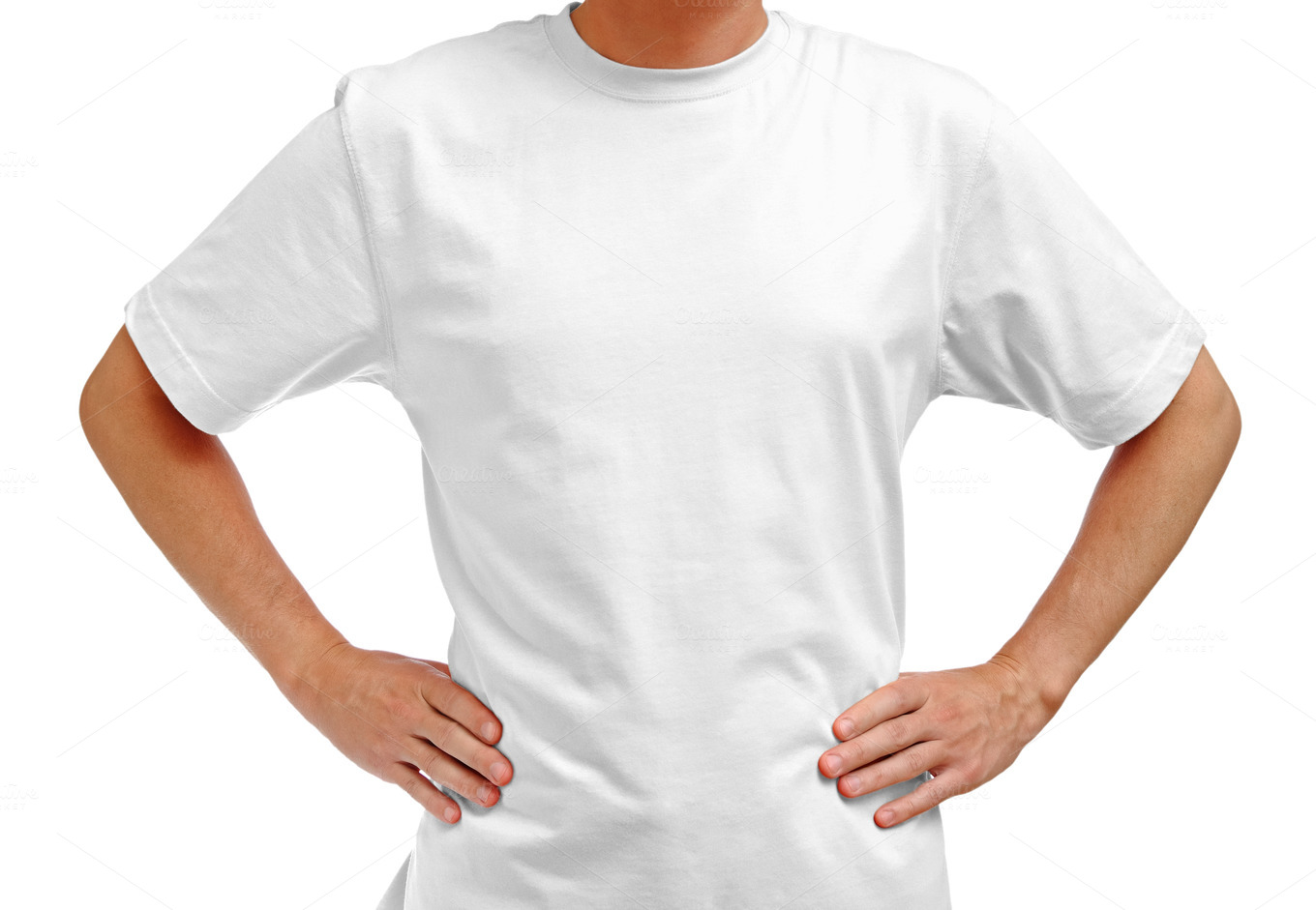 White-t-shirt-on-man
