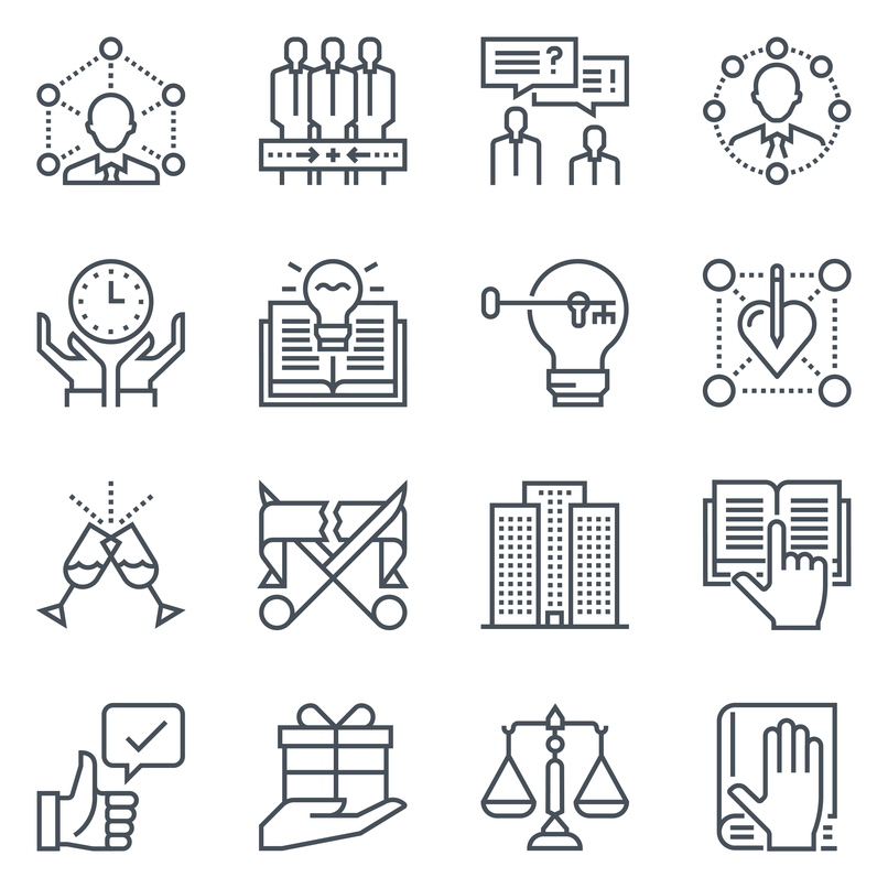 Support and tele market icon set suitable for info graphics, websites and print media. Black and white, vector, responsive, isolated, flat line icons and signs.