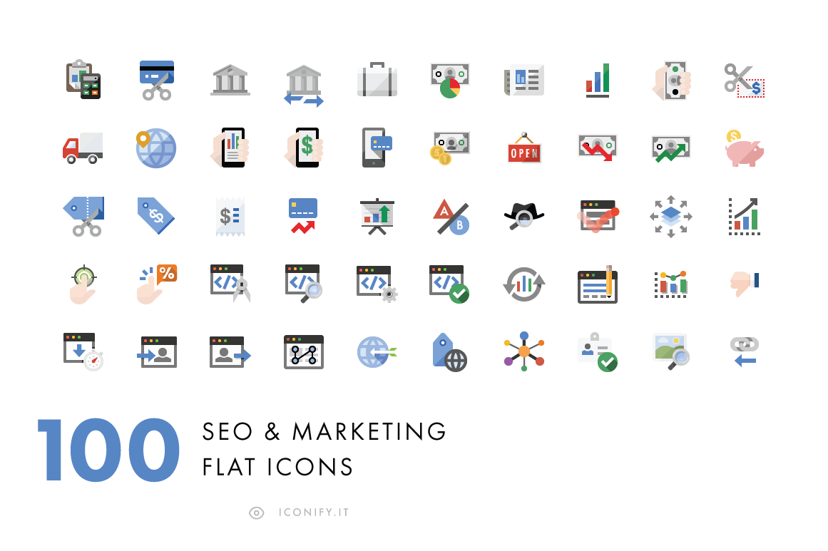 100-Flat-SEO-Business-Icons