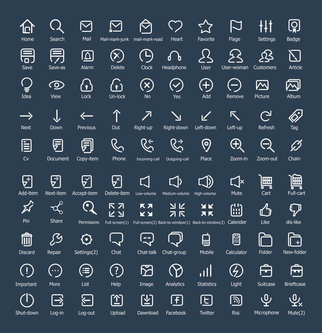 100-flat-outline-icons
