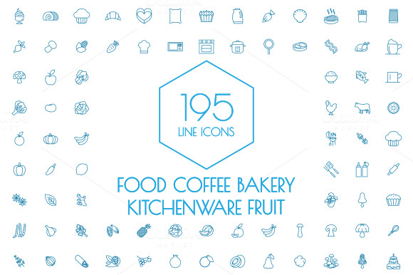 195-Line-IconsFood-and-Kitchen