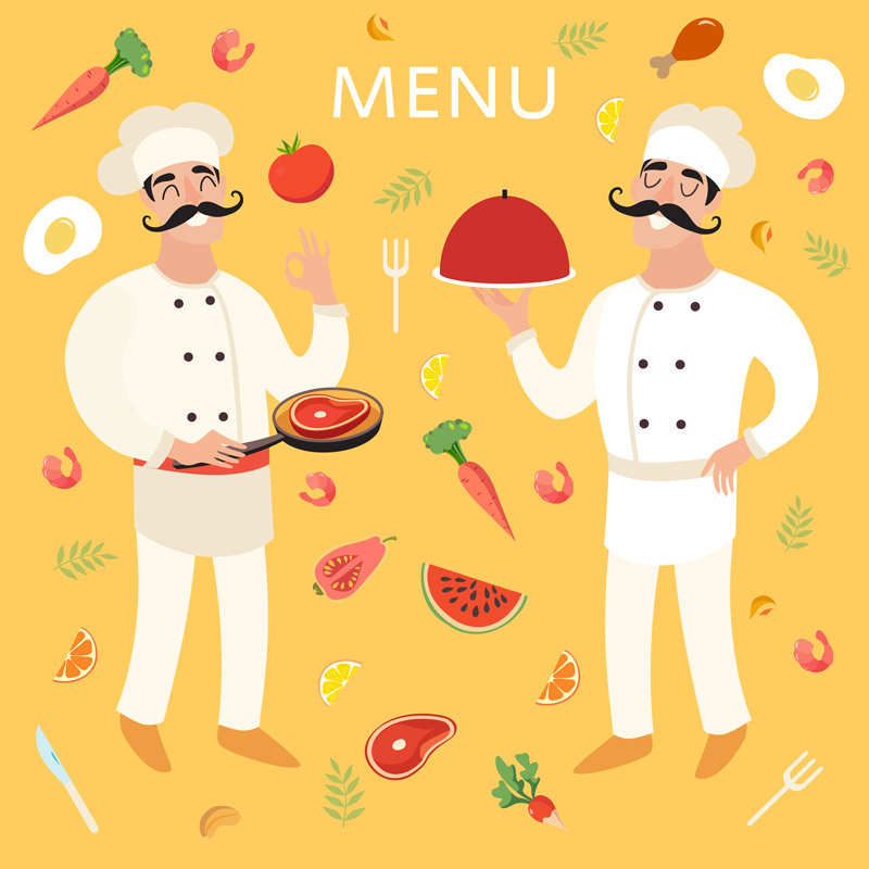 Chef-with-food-menu-background