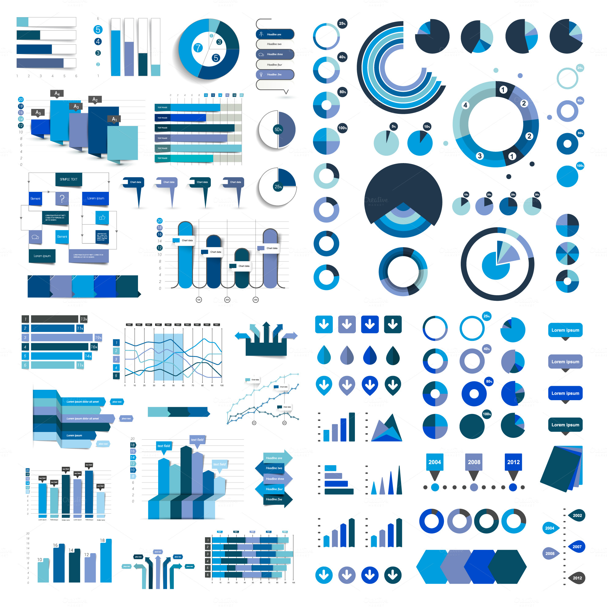 Mega-set-of-business-flat-3D-charts