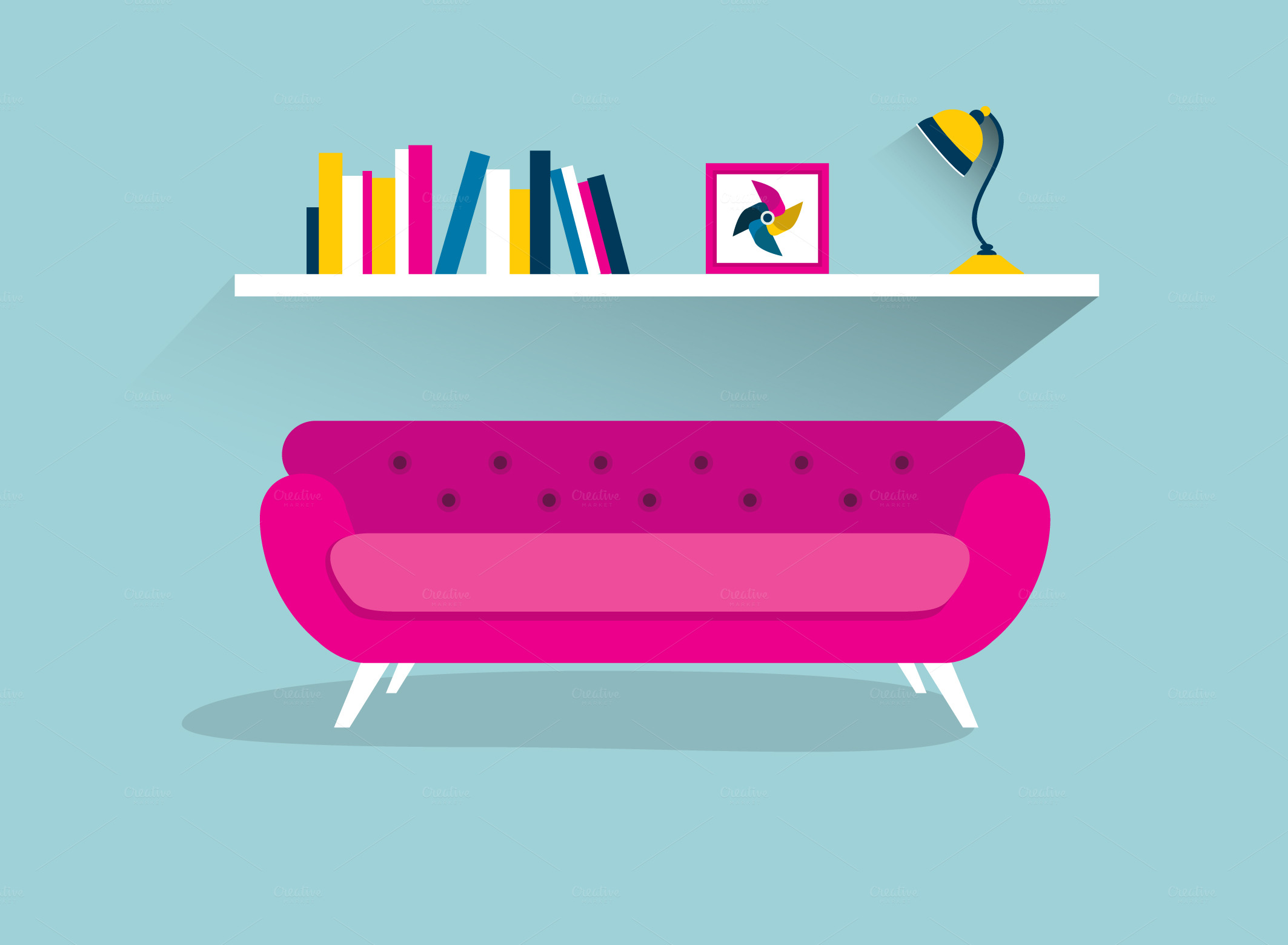 Pink-retro-sofa-with-shelf