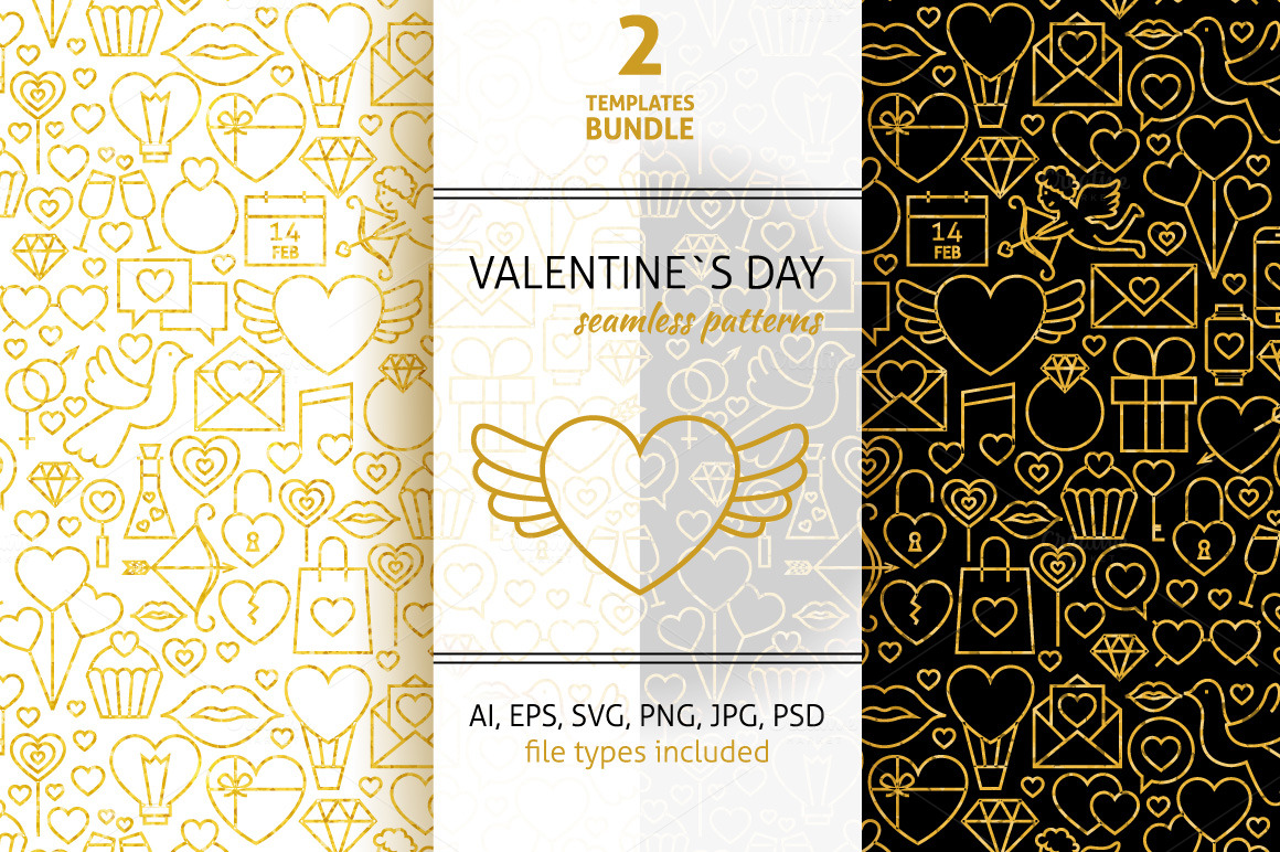 Valentine-Day-Line-Gold-Tile-Pattern
