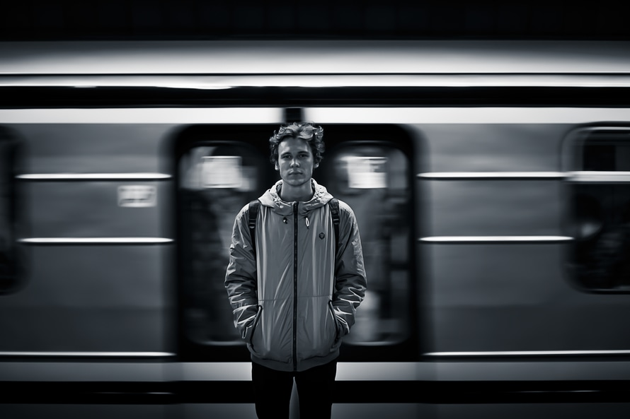 black-and-white-person-train-motion