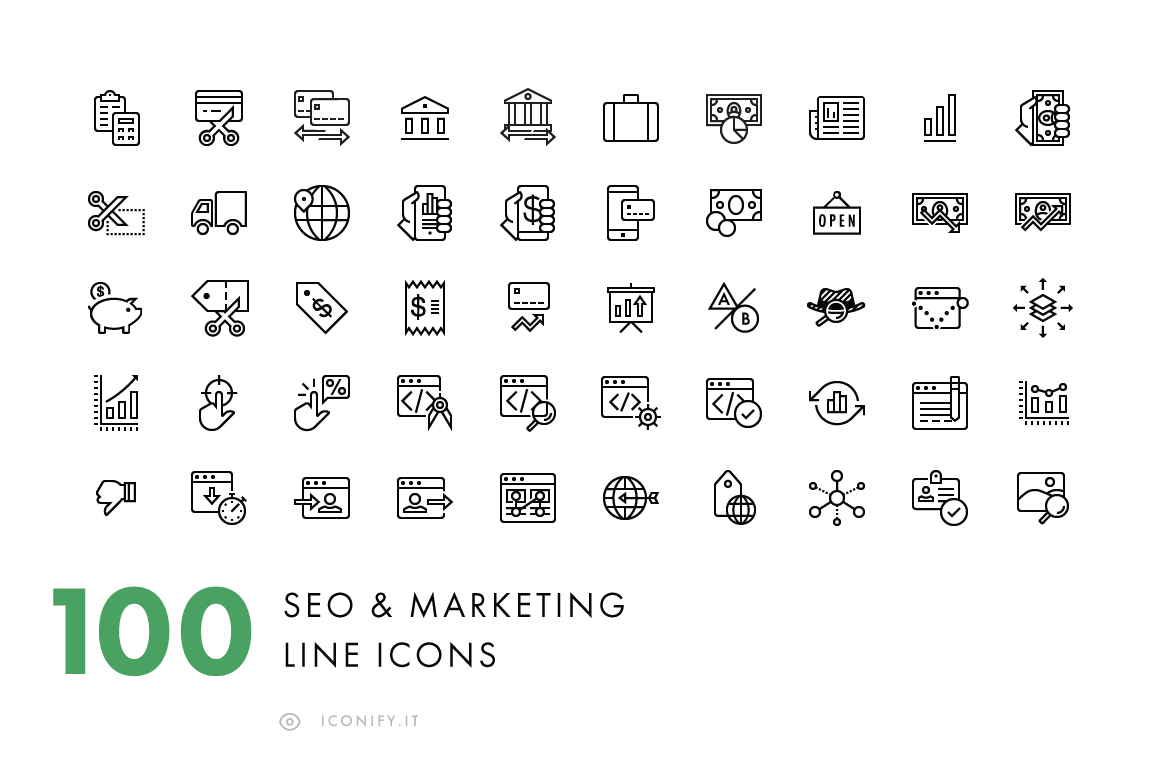 100-Line-SEO-Business-Icons