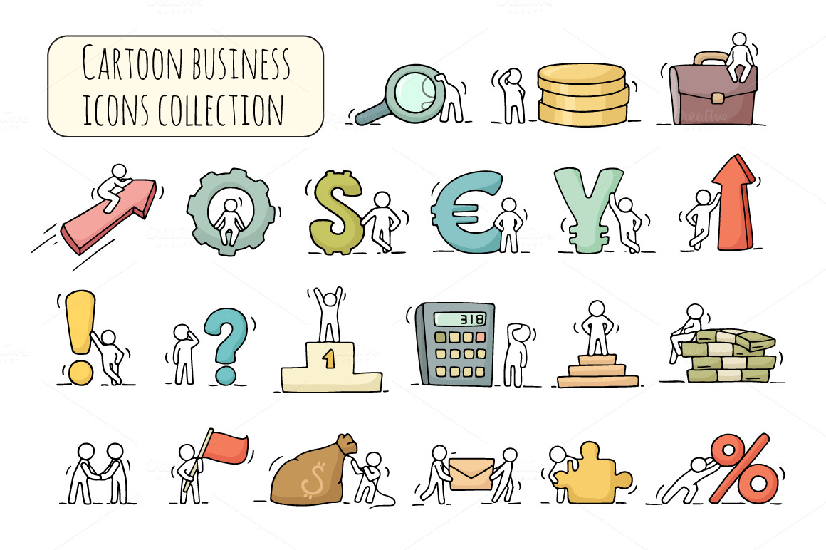 Cartoon-business-icons-set