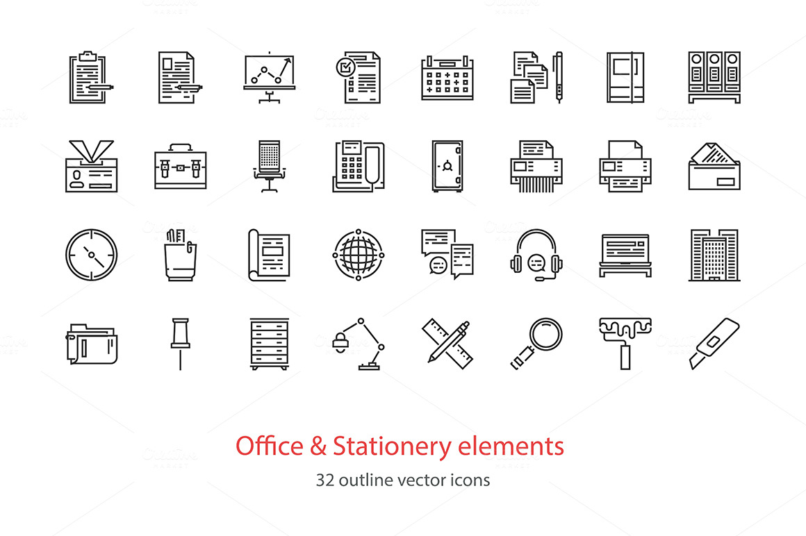 Set of Office and stationery elements outline icons.