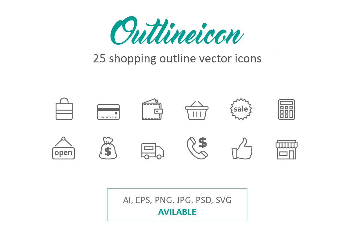 Outline-Stroke-Shopping-Icons