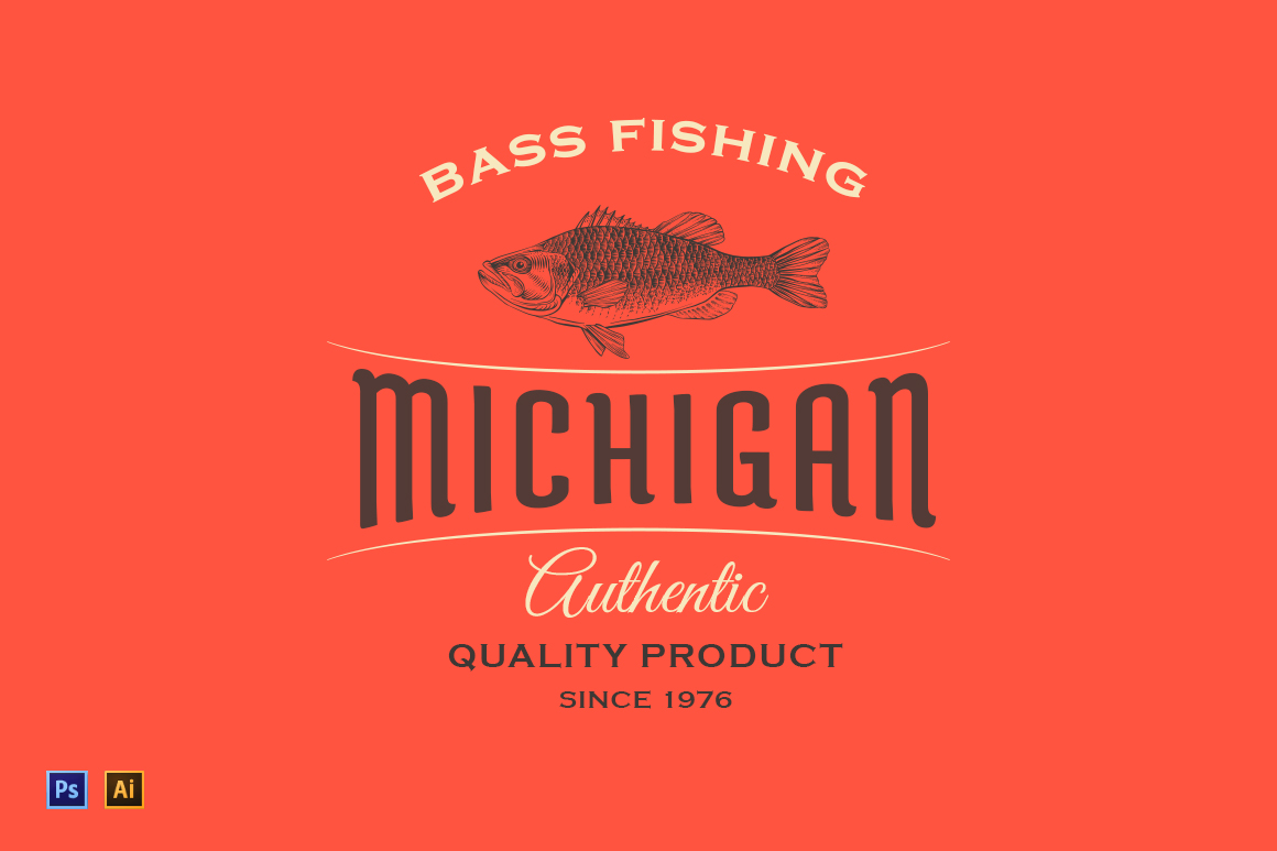Vintage-Logo-with-Fish