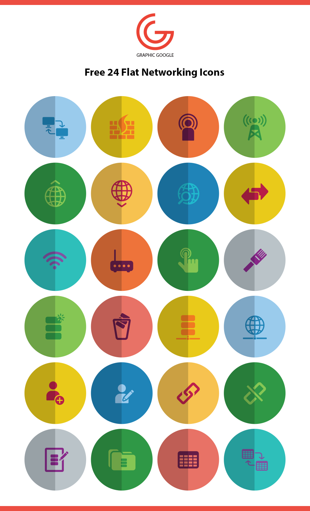 free-24-flat-networking-icons