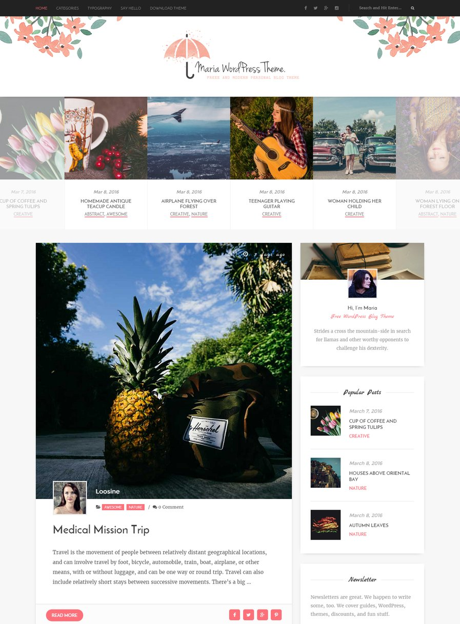 maria-free-personal-wordpress-blog-theme
